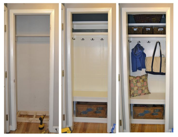 "My first home improvement inspired by Pinterest.  Our new ""Mud Closet"".  Took off the door and made the closet into an nook."