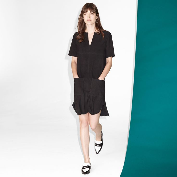 FWSS Wanderlust is a suede shift dress with patch pockets at front, slits in the side seams and silver zipper detail at back.  #suede #shift #dress #black #fwss