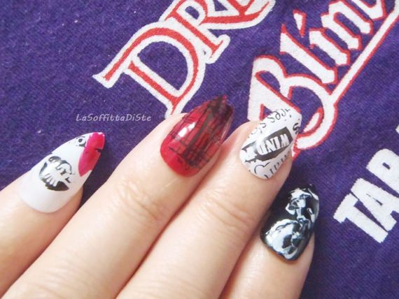 punk goth unghie finte metal anarchia nail art di LaSoffittaDiSte