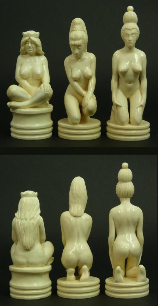 """32PCS RAIKIS MAMMOTH IVORY RUSSIAN CHESS SET Comes with certificate of authenticity certifying each piece is hand carved Mammoth. Each piece is signed to base by the artist. Tallest being the queen standing at 5-1/4"""" tall"""