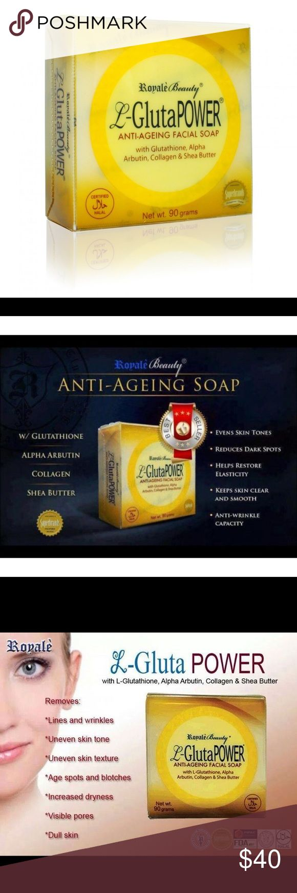 Royale L-Gluta Power Anti Aging Facial Soap 3 Pcs. L Gluta Power Contains: Alpha Arbutin - Even out skin tone and helps reduce appearance of dark spots Collagen - Supports the physical resistance and elasticity of skin cells to make it firm looking Shea Butter - Rich with Vitamin A, E & F that nourishes and moisturizes the skin in making it clear, smooth & soft & Other Stories Other