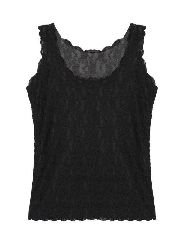 Faded Glory Women 8217 S Tank Tops Double Lace Waves Collar Halter Design Solid Color Vest Gildan Womens Hot Topic