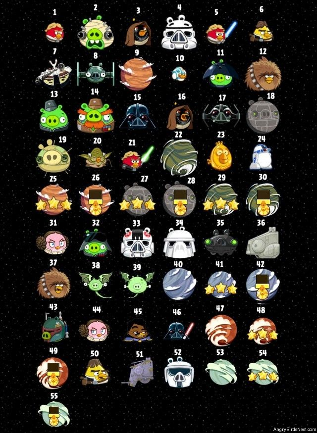 Angry Birds Star Wars Character Page Screenshot Numbered
