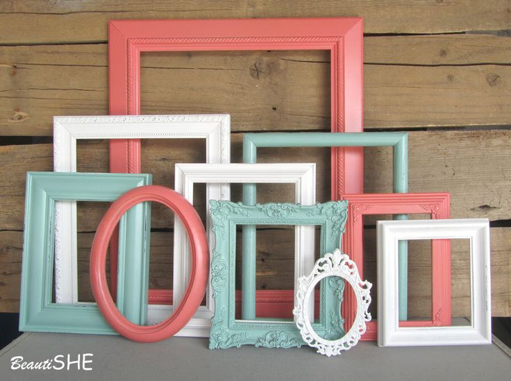 Coral Mint White OR Cream Frame Set Custom Frames Open or Picture Frames with GLASS You Choose Frame Collection Coral Nursery by BeautiSHE on Etsy https://www.etsy.com/listing/244507590/coral-mint-white-or-cream-frame-set