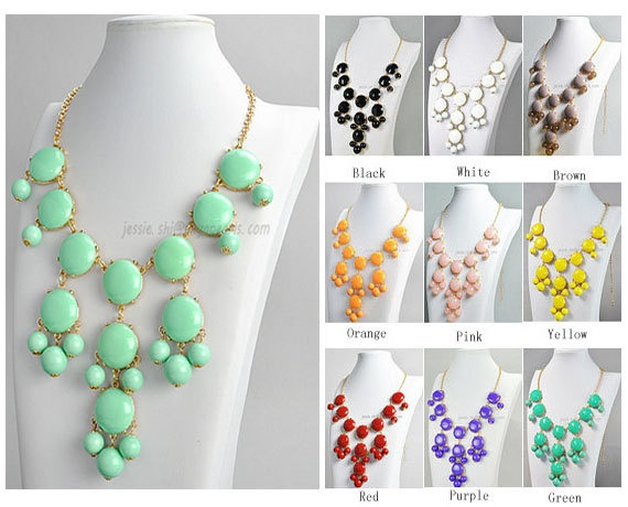 Bubble Bib Necklace,  Mint Bubble Necklace, Gold Tone Necklace, Bubble Necklace (FN0508-M-Mint). $9.50, via Etsy.