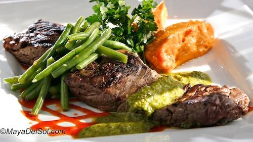 Churrasco estilo Brasileno - Brazilian style Beef tenderloin served with sweet potato purée, sautéed green beans and topped with a garlic-Serrano sauce.