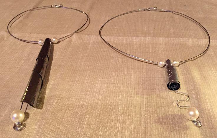collane realizzate riciclando la parte centrale di alcune lattine di birra