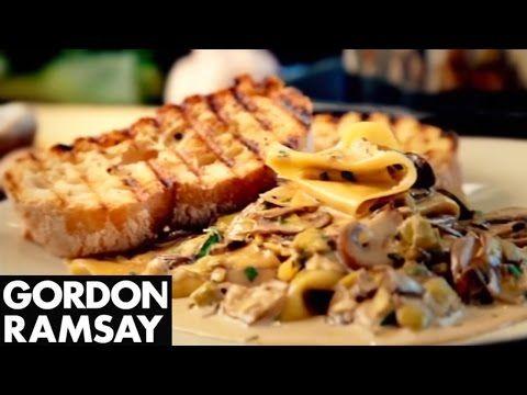 ▶ Mushroom, Leek and Tarragon Pasta - Gordon Ramsay - YouTube Replace with veggie broth
