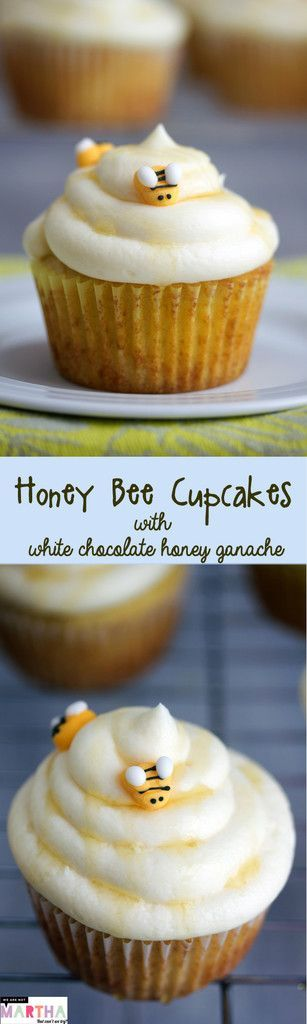 Honey Bee Cupcakes with White Chocolate Honey Ganache | wearenotmartha.com
