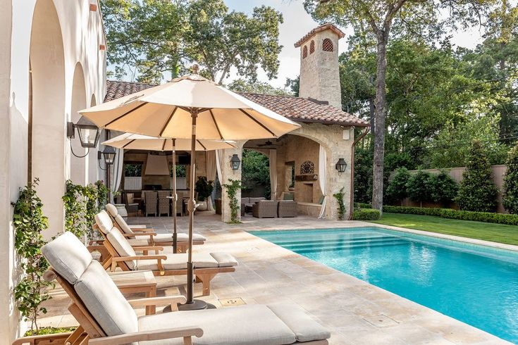 Mediterranean pool designs pool mediterranean with outdoor umbrella outdoor chaise lounge columbian romantic