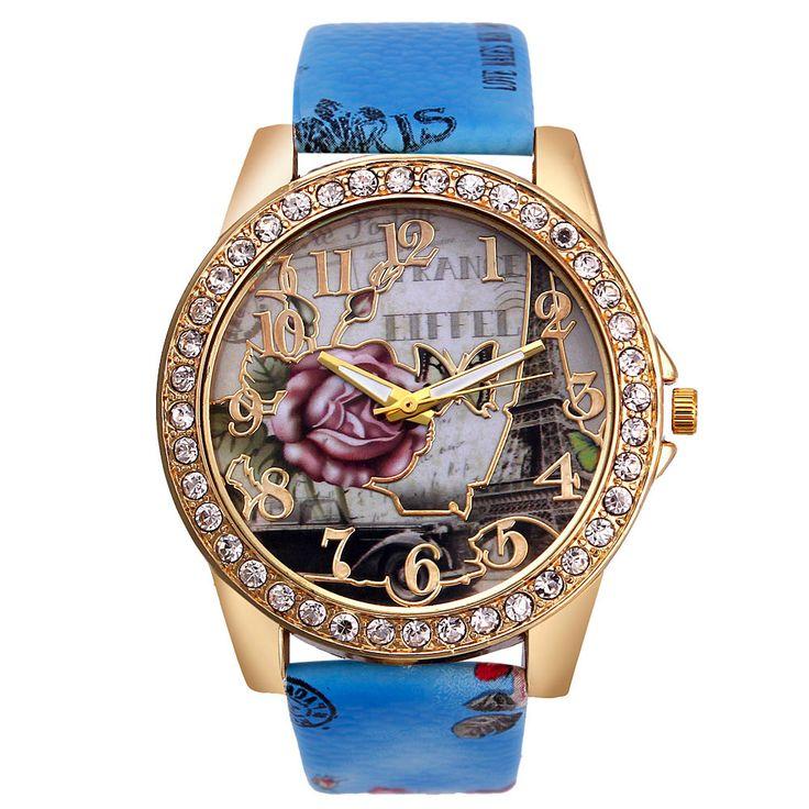 Luxury fashion Vosicar 2017 new women rose pattern bracelet Analog Leather Quartz Vogue wristwatches Freeshipping      W451