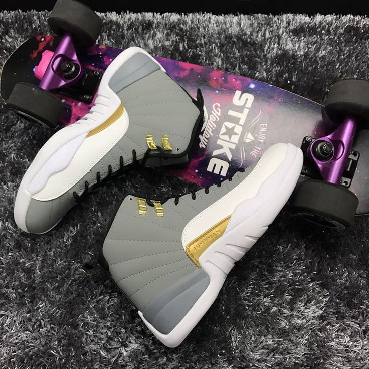 New Air Jordan 12 Retro Grey Gold Shoes
