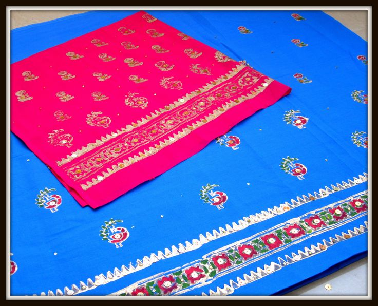 CREATE UR OWN DESIGNER / ETHNIC FABRIC - GOLD BLOCK PRINTING WITH GOLD C...