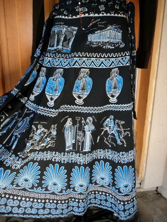 Vintage Wrap Skirt Greek Goddess Mythology by caligodessvintage