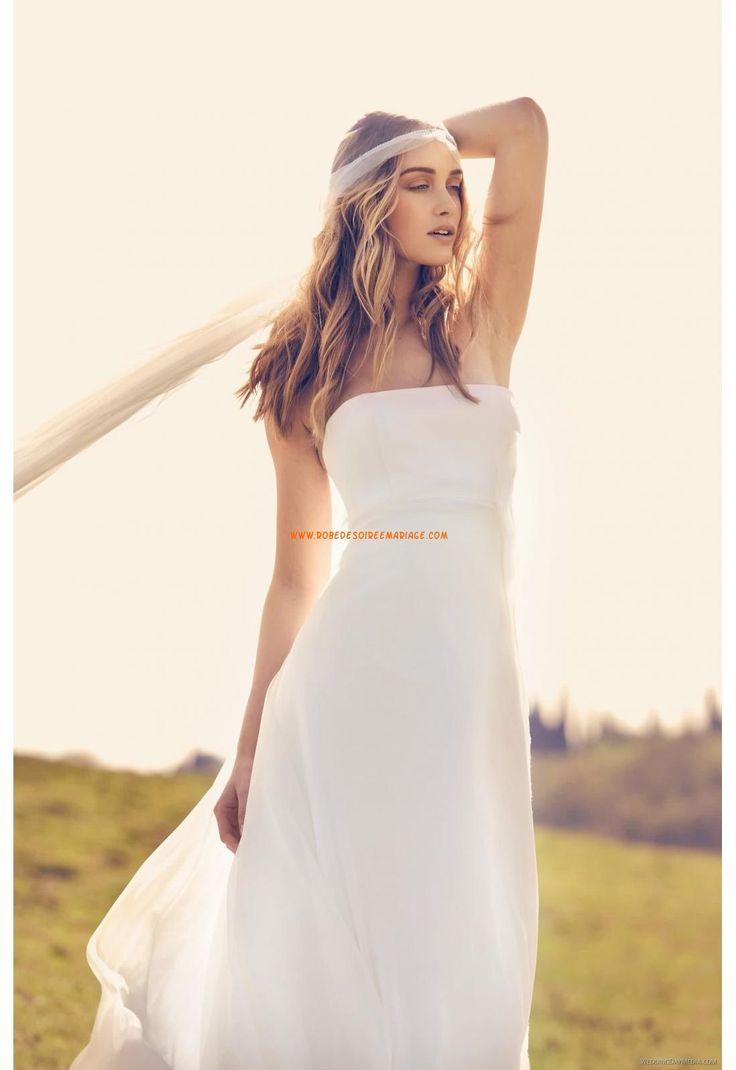 robe de mariage mousselin sans bretelles