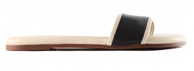 Yosi Samra WRR-208-715 Rory Soft Leather Slides Thong Sandal (US 8, Black/Biscotti). Slides sandal. Leather upper. Rubber sole. Metallic trim. Thong construction.