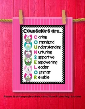 """School Counselor Office Decor: This counseling poster would be great for a school counselor's office door. It features a pink background, adorable owls, and a """"Counselors Are..."""" quote."""