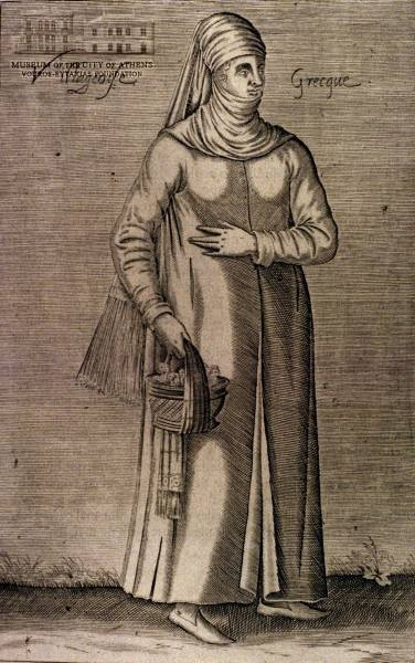 NICOLAS DE NICOLAY Greek peasant woman 1662, copper engraving,  Nicolay was in the Lymond Chronicles book iii-