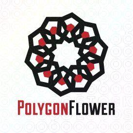 Exclusive Customizable Logo For Sale: Polygon Flower   StockLogos.com