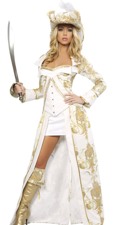 sexy womens deluxe gold pirate queen fancy dress halloween costume - Pirate Halloween Costumes Women