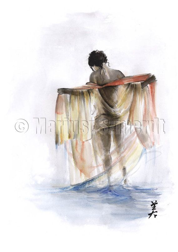Woman Act Erotic Nude Girl Woman water bath Portrait GICLEE fine art print of watercolor and ink PAINTING