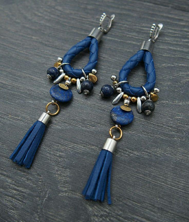 """Купить Кожаные серьги с лазуритом """"Sky"""" Сережки синее с кисточками подвесками - подарок девушке серьги"""