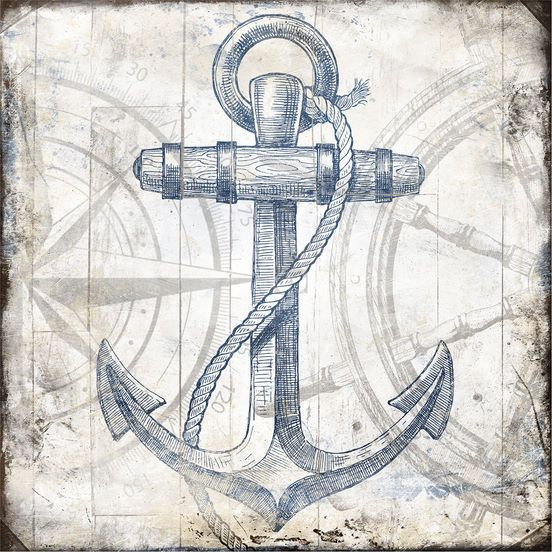 Jace Grey: Anchor Wheel Wood Blocks Keilrahmen-Bild 50x50 Leinwand maritim
