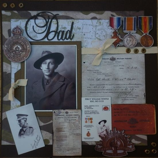 """heritage scrapbook pages   Heritage Scrapbook Pages / """"Dad"""" ~ Touching Military Layout"""