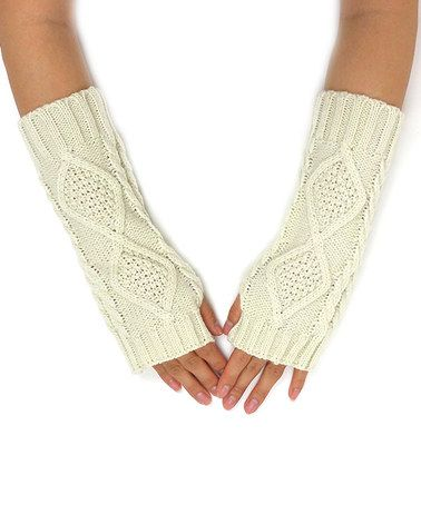 Take a look at this Ivory Cable-Knit Arm Warmers on zulily today!