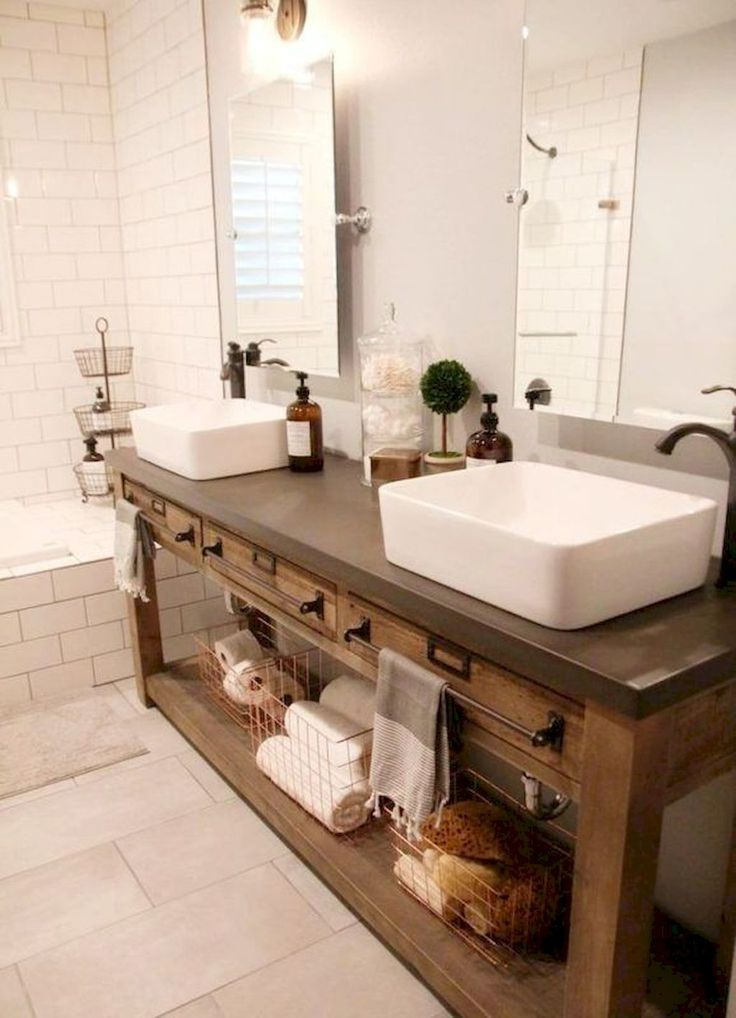 Awesome 125 Best Farmhouse Bathroom Vanity Remodel Ideas https://roomadness.com/2018/01/14/50-best-farmhouse-bathroom-vanity-remodel-ideas/