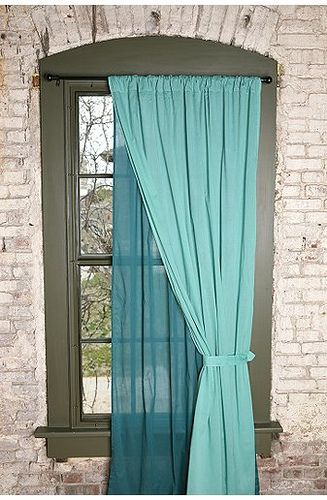 Two-tone voile curtains by littleenglishgirl, via Flickr