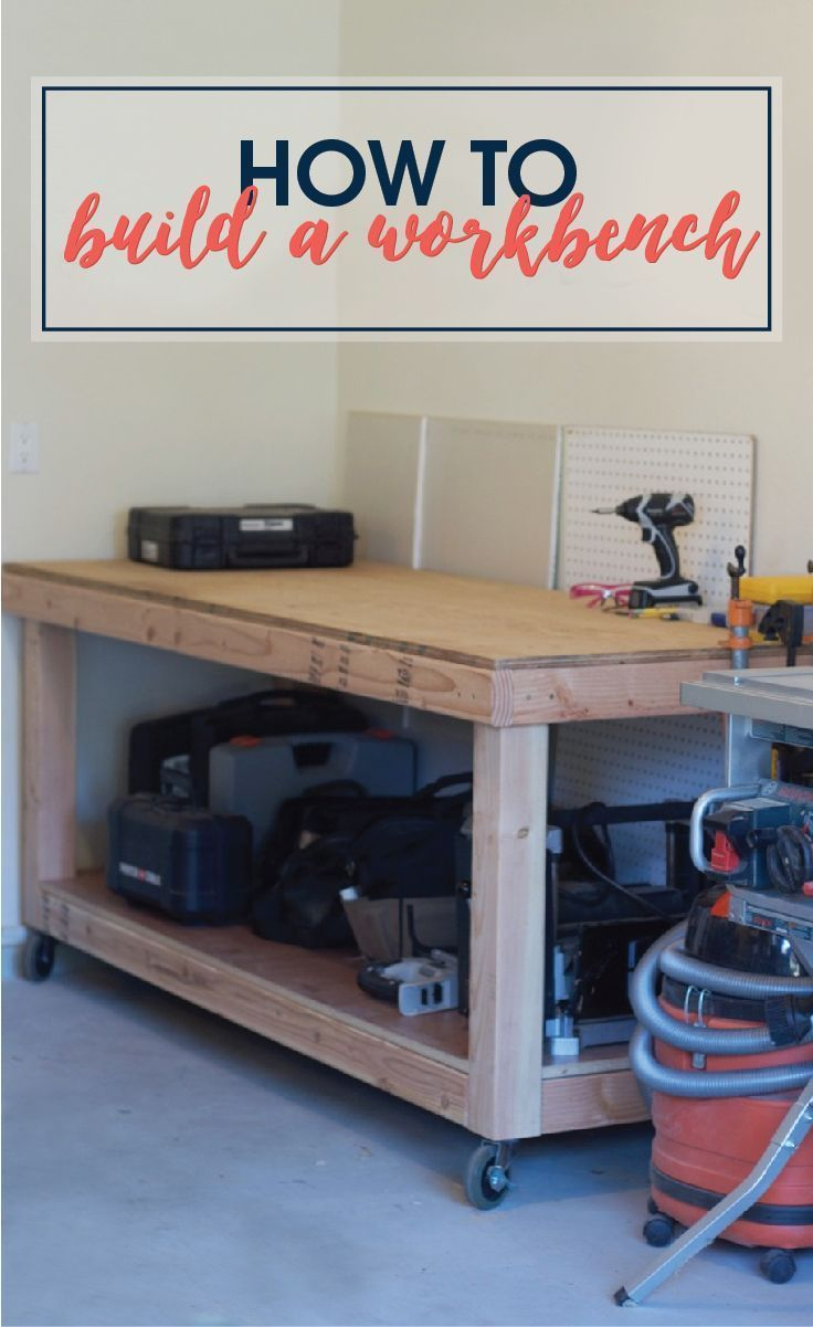How to Build a Workbench | Build a simple rolling workbench with these easy to follow DIY plans. This is the perfect workbench to add more storage in your garage to hold your tools and get you organized!