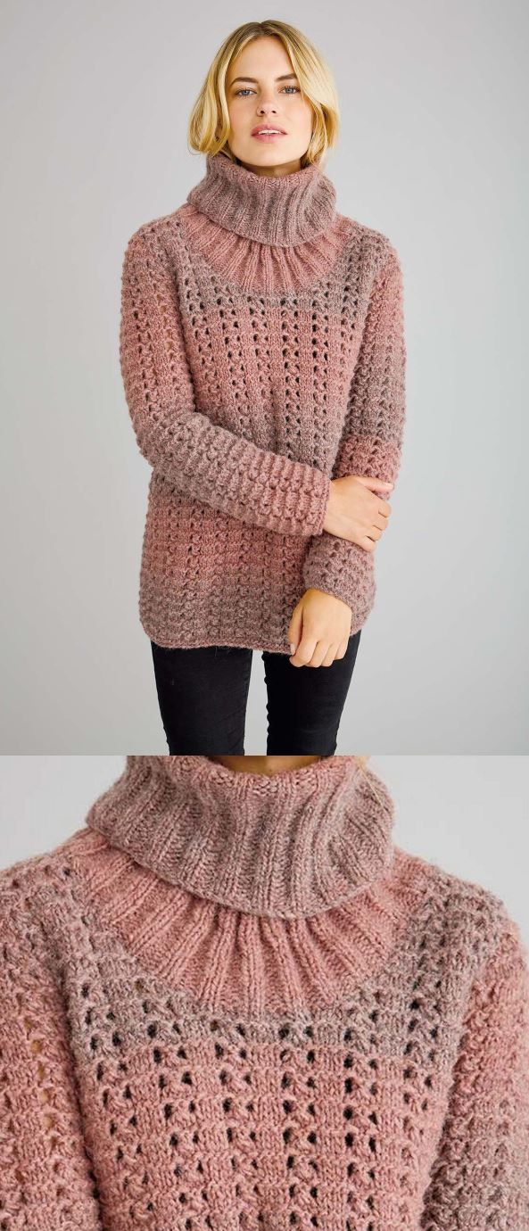 Free Knitting Pattern for a Chunky Textured Sweater with a Rolled Neck 75704cc71
