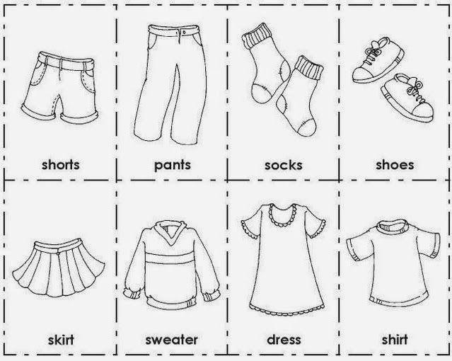 Картинки одежды раскраски на английском