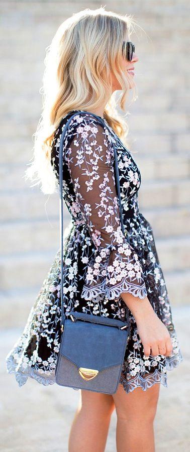 Black Flower Printed Dress / Dark Shoulder Bag
