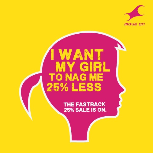 I want my girl to nag me 25% less. The Fastrack sale is on Flat 25% OFF on Bags, Belts, Wallets & Sunglasses!