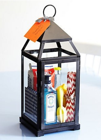 Clever Hostess Gift ♦ Fill a lantern with goodies! This is a fun idea for a summer BBQ or housewarming party.