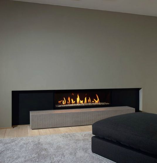 low, sleek, minimalist contemporary fireplace: