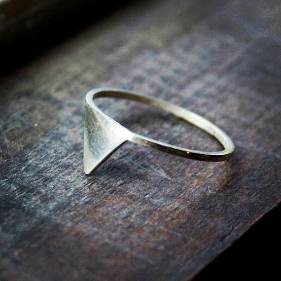 Triangle Ring  Geometric Jewelry  Sterling Silver b