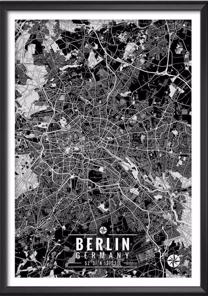 Berlin Germany Map with Coordinates - Ideate Create Studio