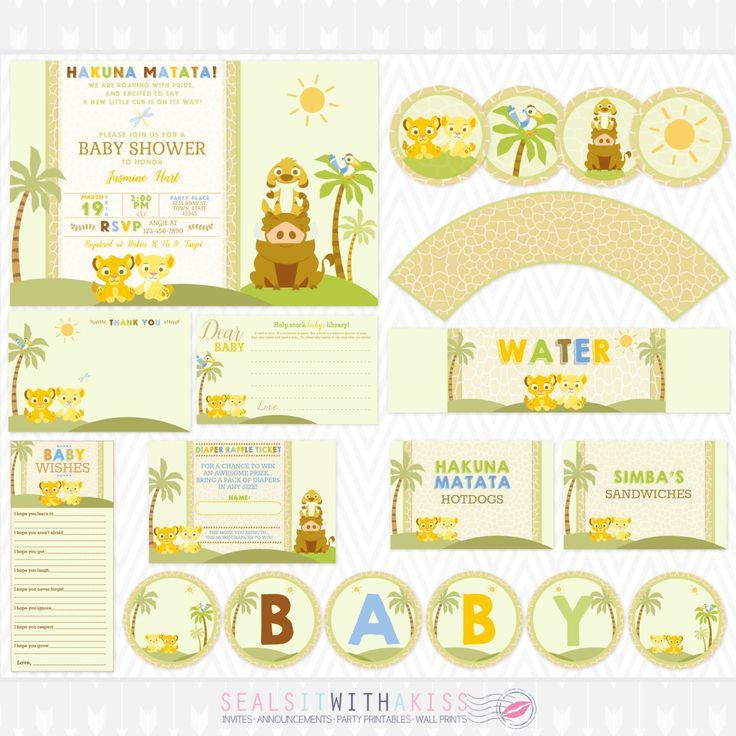 De leeuwenkoning Baby Baby douche partij afdrukbare pakket