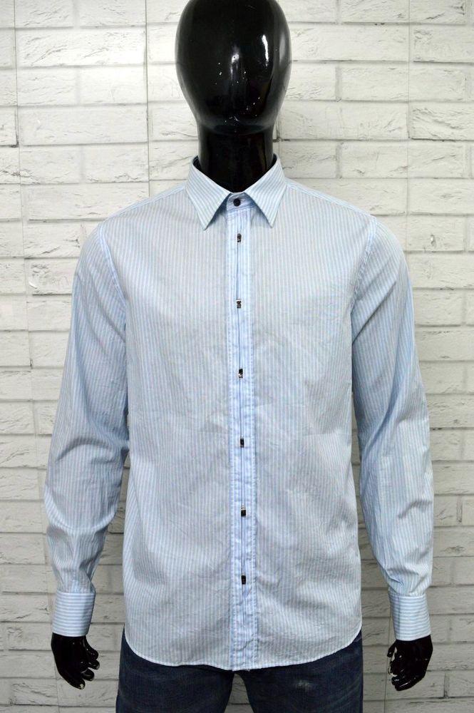 Camicia LOVE MOSCHINO Uomo Taglia Size L Shirt Man Cotone Celeste Manica  Lunga f5531d0b61f