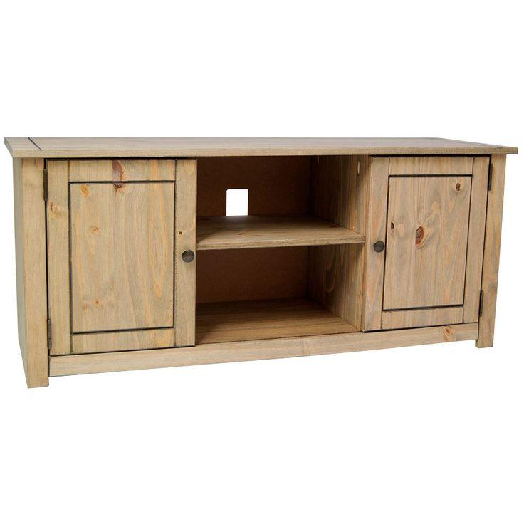 Panama Flat Screen TV Unit 2 Door 1 Shelf Natural Oak Wax Pine By Home Discount
