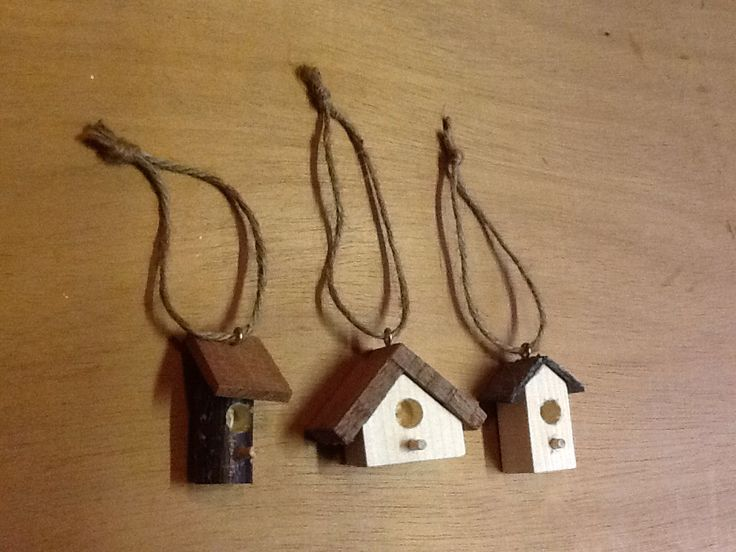 Christmas tree decorations. Bird houses made with my son.
