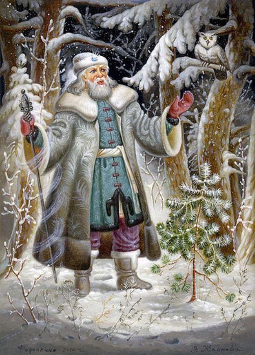 Father Frost fairy tale - Fedoskino miniature