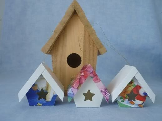 Bird Houses from Christmas cards.