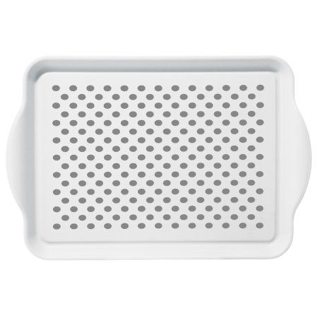 Oggi Non Skid Plastic Serving Tray with Rubber Grips, White