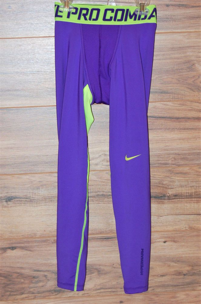 Nike Pro Combat Hyperwarm Exercise Running Tights Pants Mens Small Purple 548187 #Nike #Pants