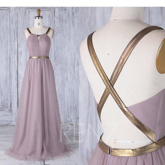 Dark Mauve Tulle Bridesmaid Dress with Gold Belt, Key Hole Neck Wedding Dress, A Line Long Prom Dress Floor Length (LS288)