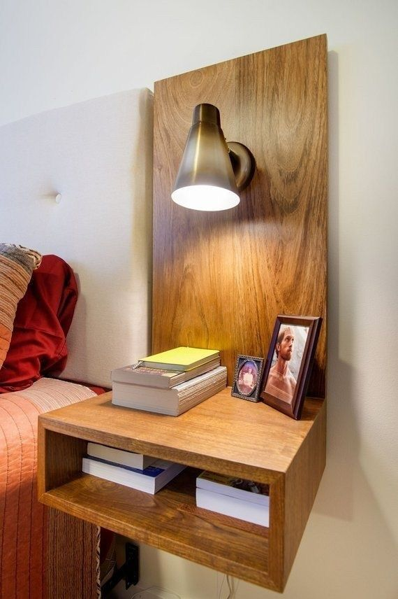 Floating Nightstand With Light And Outlet In 2020 Floating